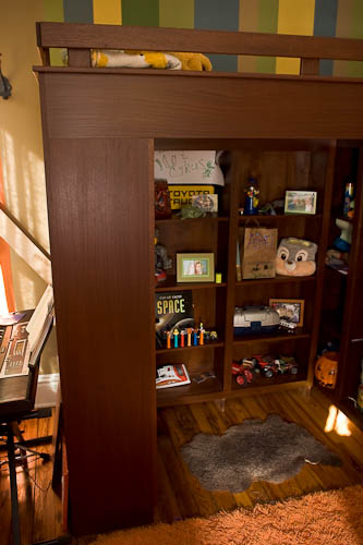 Custom design and build dark cherry bunk beds with under bed shelving