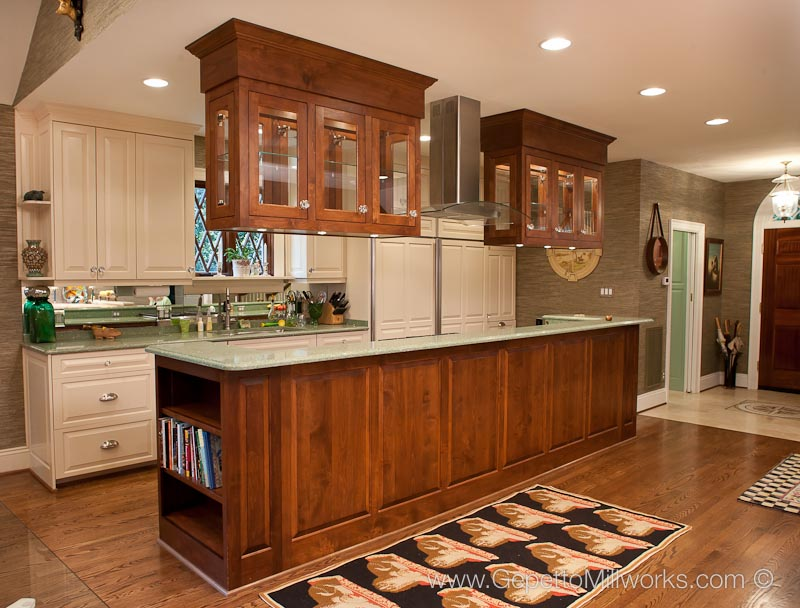 Hanging Cabinets In Island Based Kitchen Gepetto Millworks