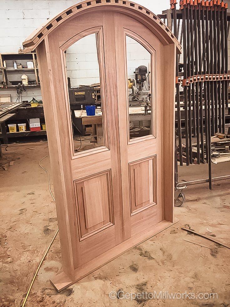 Round top solid wood door