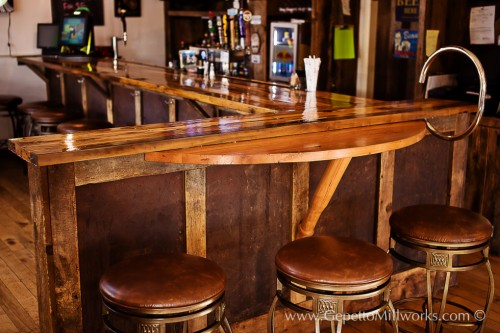 Handmade wooden bar and restaurant fixtures