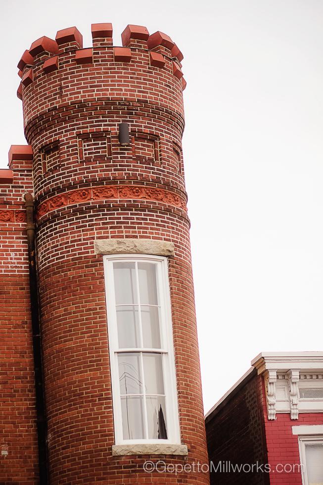 Historic Wooden Windows Built on Arc
