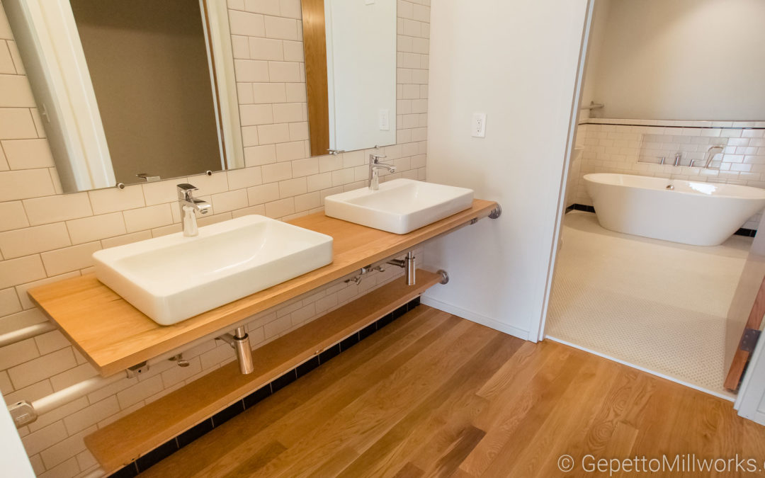 Ultra Modern Open Shelf Bathroom Concept in Oak