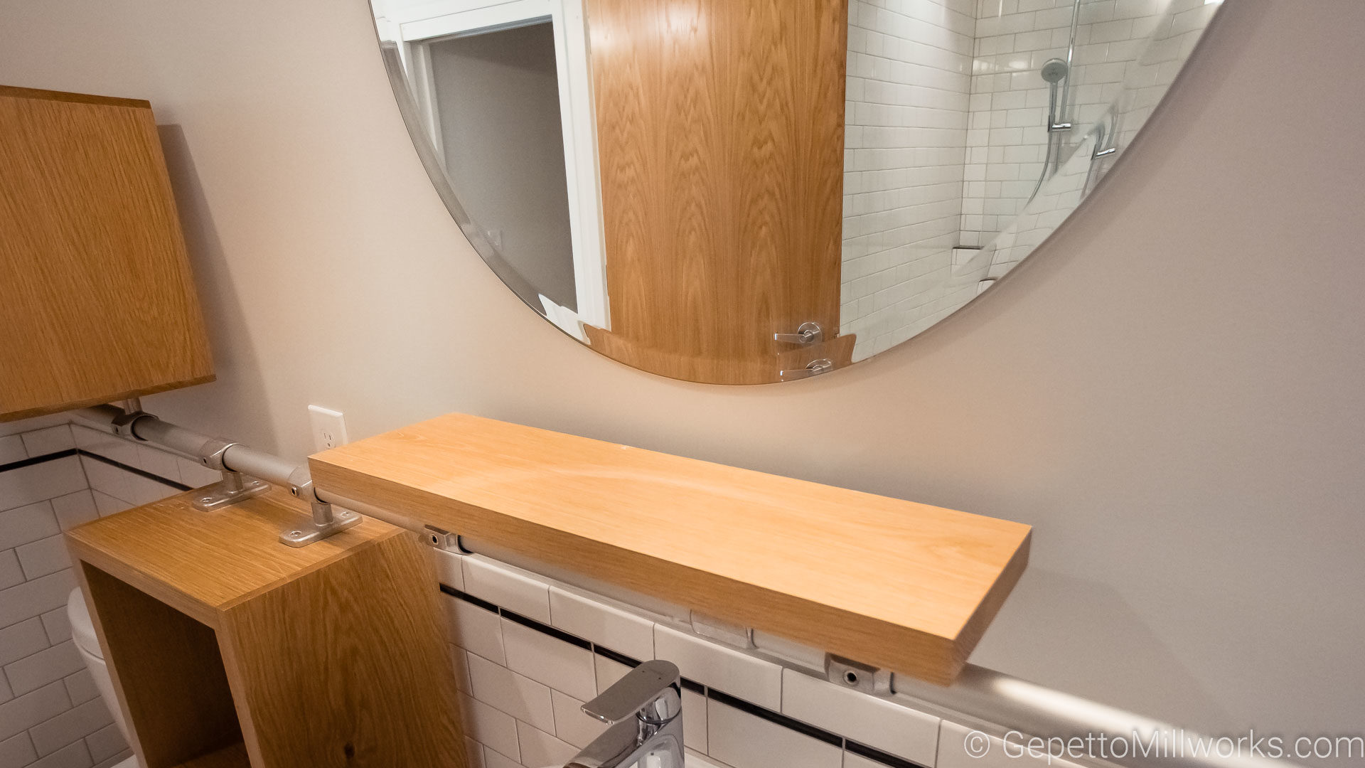 Ultra Modern Open Shelf Bathroom Concept Constructed of solid Oak